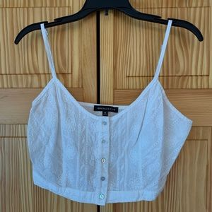 Kendall & Kylie White Lace Halter Crop Top M